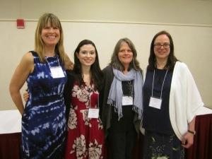 (left to right) April Halprin Wayland, Rebecca Short, Deborah Heiligman, and Susan Lynn Meyer