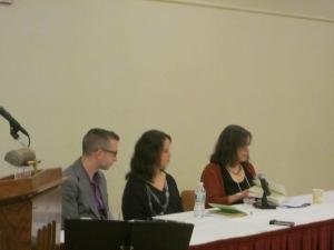 Poetry panelists Jason Schneiderman, Hila Ratzabi, and Amy Gottlieb