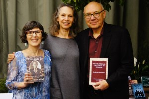 Carol Matas, Fictive Press publisher Morri Mostow, and husband Per Brask at launch of Tucson Jo, 2014