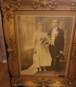 wedding photo - max and eva krasner 1918 in original frame